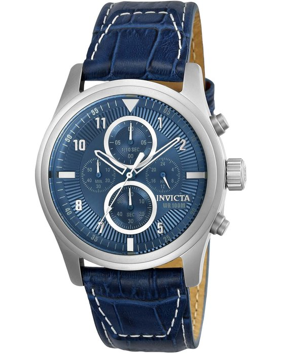 Ρολόι INVICTA Aviator Chronograph Blue Leather Strap - 22977 - OROLOI.gr 7a38cba85b7