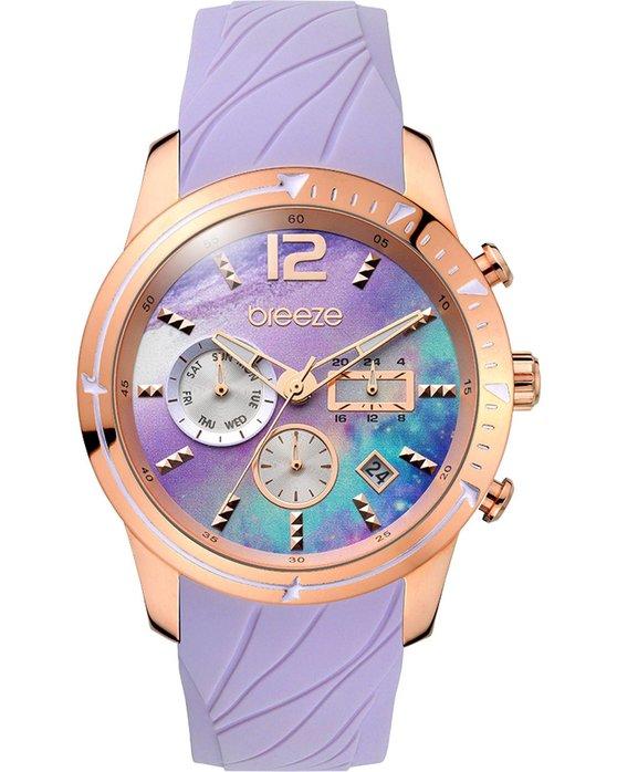 Ρολόι BREEZE Selena Dual Time Purple Silicone Strap - 110781.5 - OROLOI.gr 41ffd8a075a
