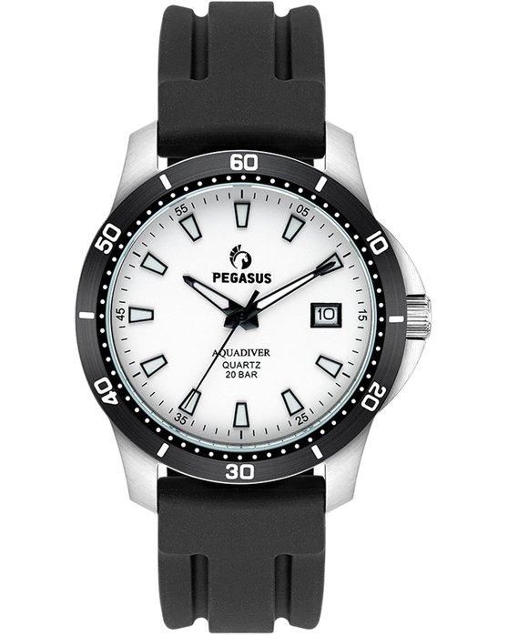 Ρολόι PEGASUS Aquadiver Black Silicone Strap 200M - 17624261 - OROLOI.gr bbc61483caa