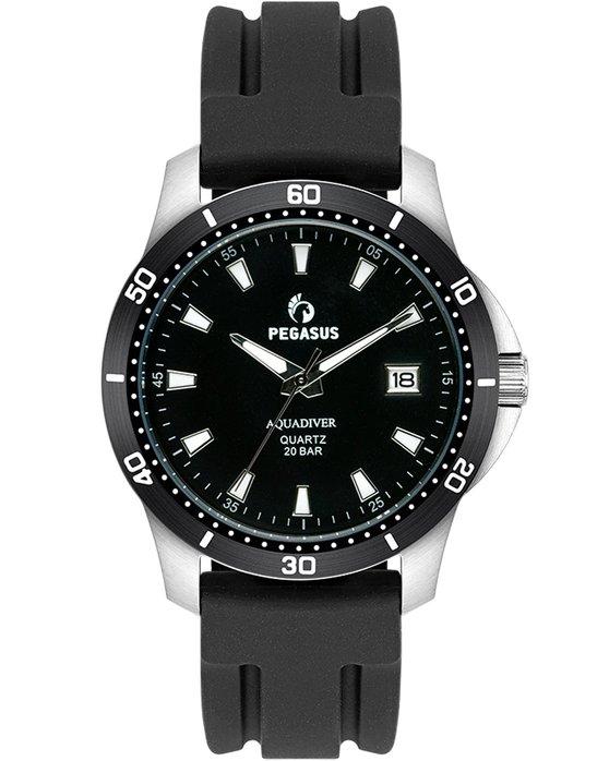Ρολόι PEGASUS Aquadiver Black Silicone Strap 200M - 17624266 - OROLOI.gr b4ebd29a974