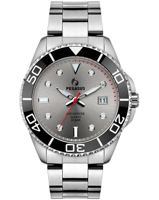 Ρολόι PEGASUS Aquadiver Silver Stainless Steel Bracelet 200M - 18614292 -  OROLOI.gr 7827e888cb8