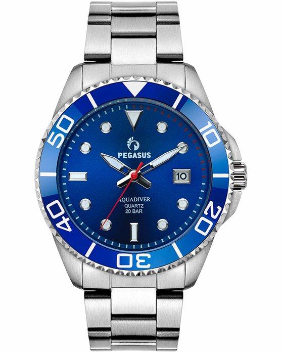 Ρολόι PEGASUS Aquadiver Silver Stainless Steel Bracelet 200M - 18614294 -  OROLOI.gr 9278f4a0eca