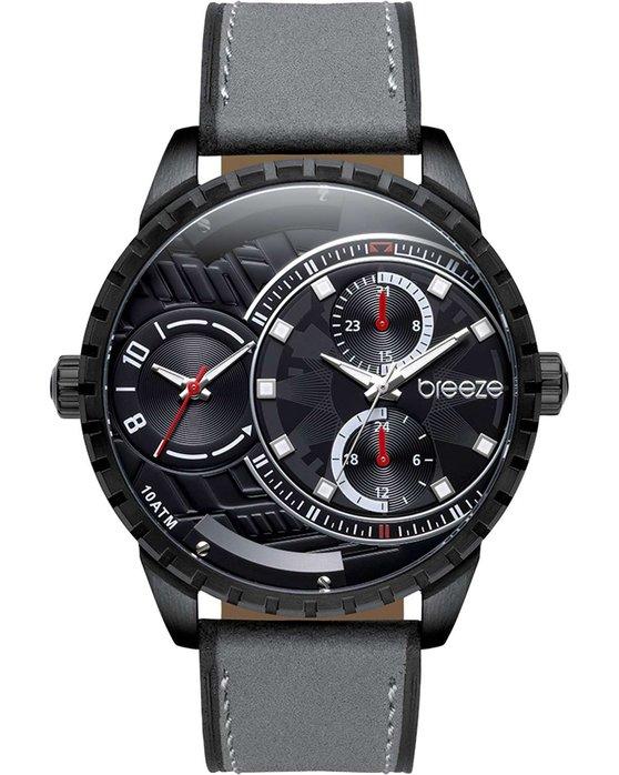 Ρολόι BREEZE Alchemist Dual Time Grey Leather Strap - 110862.7 - OROLOI.gr e7b7ae11a47
