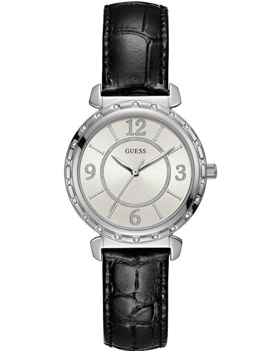 Ρολόι GUESS Ladies Crystals Black Leather Strap - W0833L2 - OROLOI.gr 3ac7ebdafed