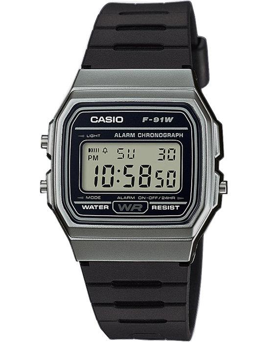 Ρολόι CASIO Collection Chronograph Black Plastic Strap - F-91WM-1BEF -  OROLOI.gr ffc4249de38