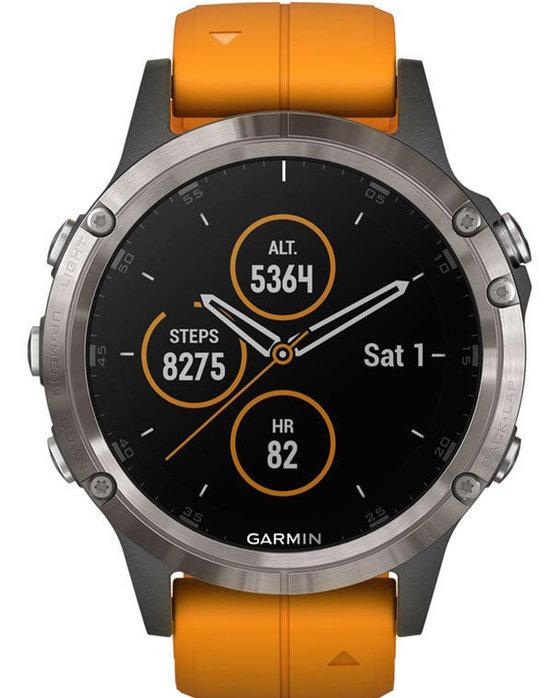 7b9d1f0b77 Ρολόι GARMIN Fenix 5 Plus Sapphire Titanium with Solar Flare Orange ...