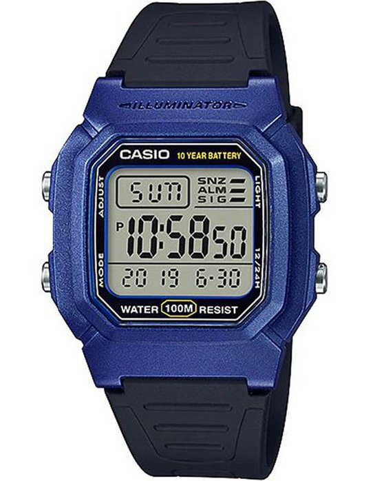 Ρολόι CASIO Collection Dual Time Chronograph Black Rubber Strap -  W-800HM-2AVEF - OROLOI.gr 5b1784f6132