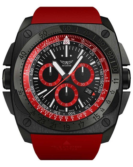 Ρολόι AVIATOR MIG-29 SMT Chronograph Red Rubber Strap - M.2.30.5.215.6 -  OROLOI.gr 8e90cb49c58