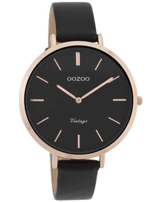 Ρολόι OOZOO Vintage Black Leather Strap - C9809 - OROLOI.gr b74db59db62
