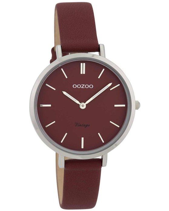 Ρολόι OOZOO Vintage Bordeaux Leather Strap - C9815 - OROLOI.gr 3071bb1e289