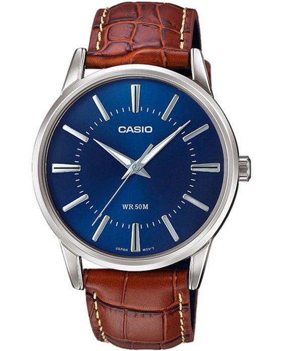 Ρολόι CASIO Collection Brown Leather Strap - MTP-1303PL-2AVEF ... 63208b993f1