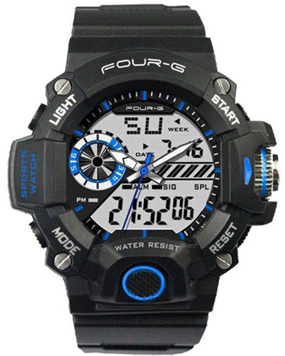 Ρολόι JAGA Four G Chronograph Black Rubber Strap - AD47BLUE - OROLOI.gr 9e28dc17aa4