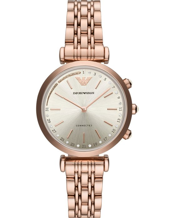 Emporio ARMANI Connected Crystals Hybrid Rose Gold Stainless Steel Bracelet