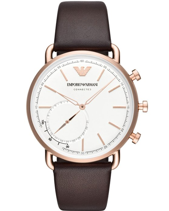 Emporio ARMANI Connected Hybrid Brown Leather Strap