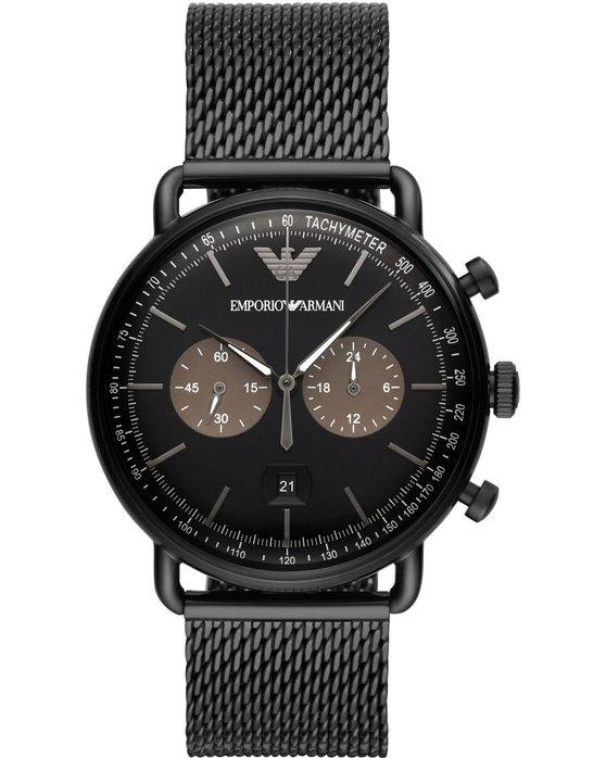 Ρολόι Emporio ARΜΑΝΙ Aviator Chronograph Black Stainless Steel Bracelet -  AR11142 - OROLOI.gr 4abafa94783