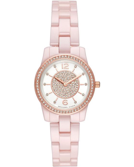 Ρολόι Michael KORS Runway Crystals Pink Ceramic Bracelet - MK6622 - OROLOI. gr ffbc32fb3c5