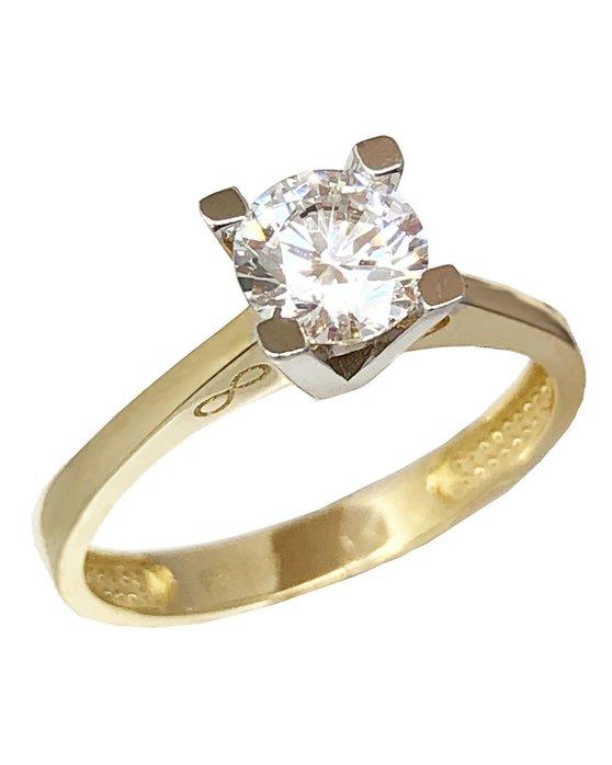 d6da4be849 Ρολόι Μονόπετρο δαχτυλίδι SAVVIDIS από χρυσό και λευκόχρυσο 14Κ με ...