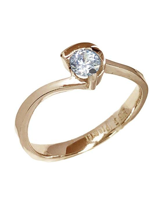Ρολόι Μονόπετρο δαχτυλίδι SAVVIDIS από ροζ χρυσό 14Κ με ζιργκόν ... 740a003c4c9
