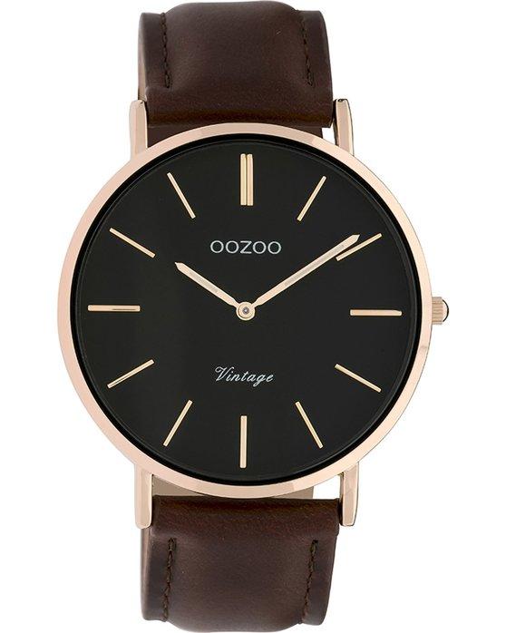 Ρολόι OOZOO Vintage Brown Leather Strap - C9834 - OROLOI.gr d33a05a7d65