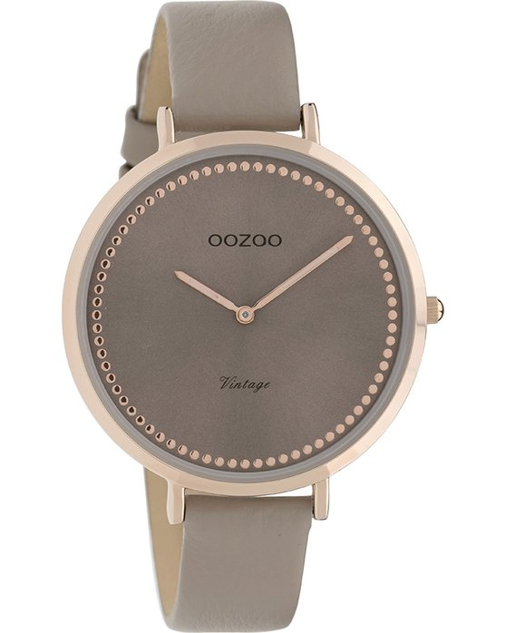 Ρολόι OOZOO Vintage Brown Leather Strap - C9850 - OROLOI.gr 1bcb2a2d346
