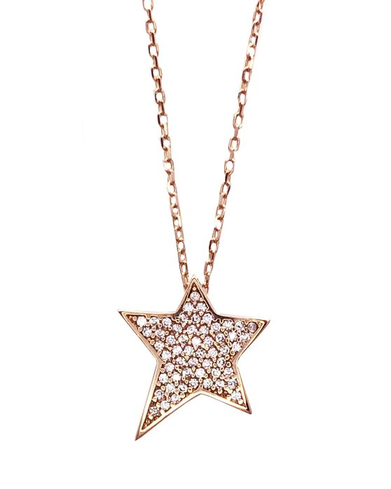 752eb62934 Ρολόι Κρεμαστό με αστέρι SAVVIDIS από ροζ χρυσό 14Κ με ζιργκόν ...