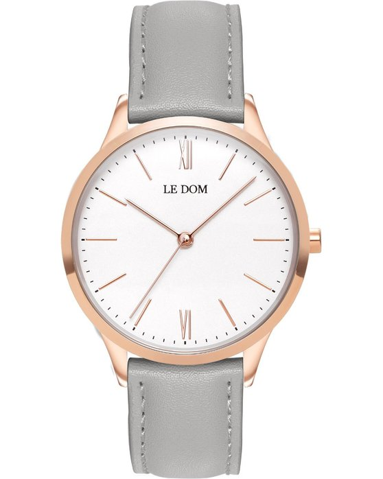 LE DOM Classic Grey Leather Strap