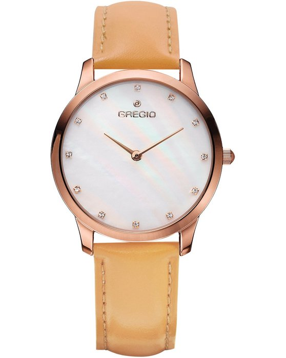 GREGIO Nora Crystals Brown Leather Strap