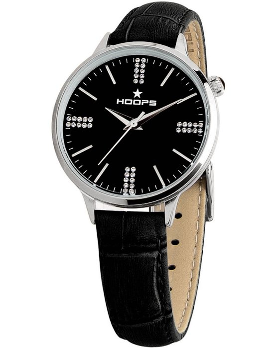 HOOPS Classic Chic Crystals Black Leather Strap