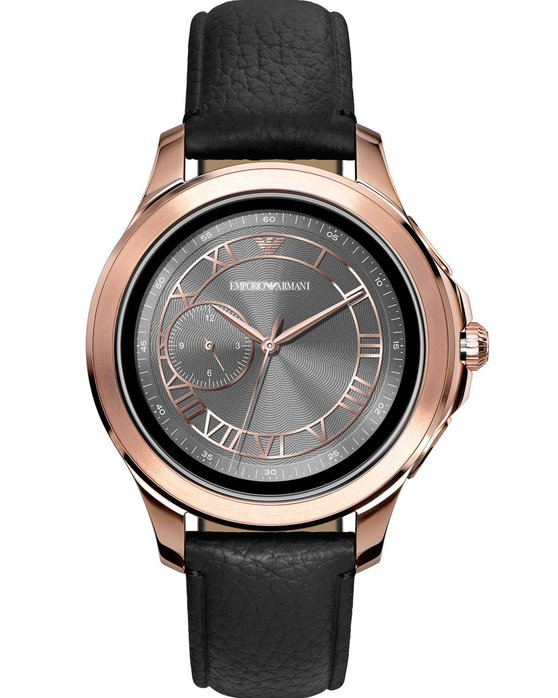 Emporio ARΜΑΝΙ Alberto Black Leather Strap