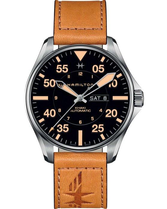 Ρολόι HAMILTON Khaki Aviation Pilot Automatic Brown Leather Strap -  H64725531 - OROLOI.gr b00a92dc467