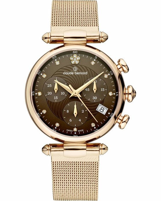 CLAUDE BERNARD Dress Code Crystals Chronograph Rose Gold Stainless Steel Bracelet