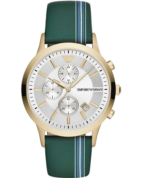 Emporio ARΜΑΝΙ Renato Chronograph Green Leather Strap