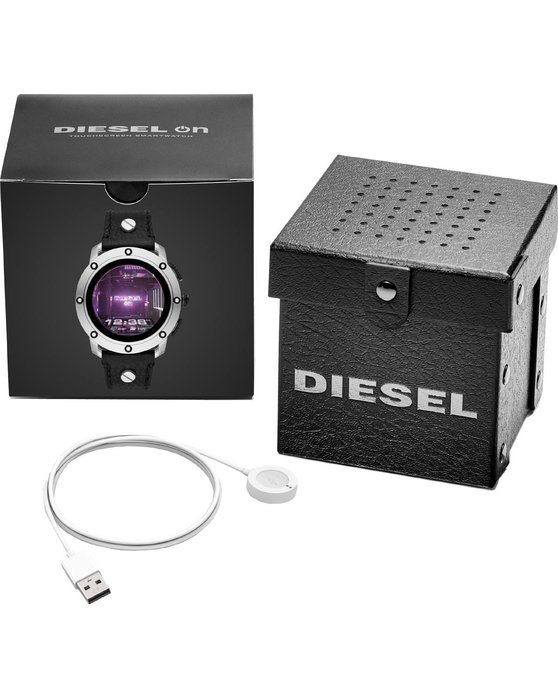 DIESEL On Axial Chronograph Black Leather Strap