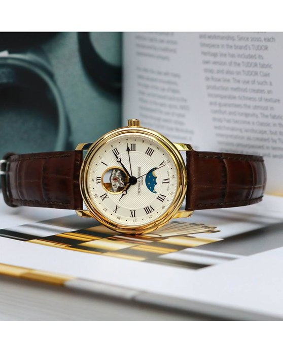 FREDERIQUE CONSTANT Classics Heart Beat Moonphase Automatic Brown Leather Strap