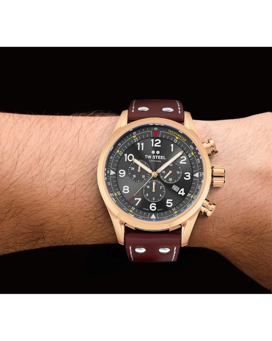 TW STEEL Swiss Volante Chronograph Brown Leather Strap