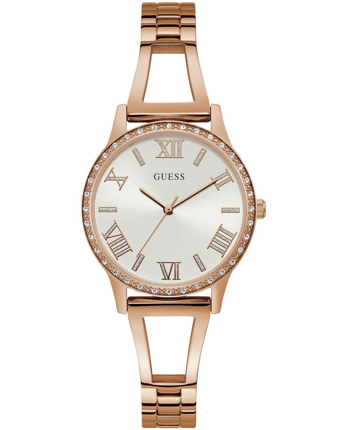 68e218787080 Ρολόι GUESS Ladies Crystals Rose Gold Stainless Steel Bracelet ...