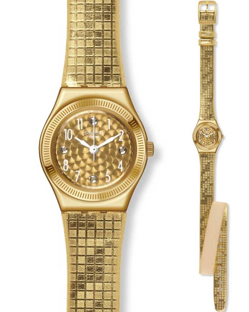 Ρολόι SWATCH Dance Floor Gold Leather Strap - YSG135 - OROLOI.gr 06aa5dcafa5